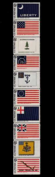 view larger image for  : SG Number 1339a / Scott Number 1354a (1968) - Historic American Flags <br/>Se-tenant strip of ten