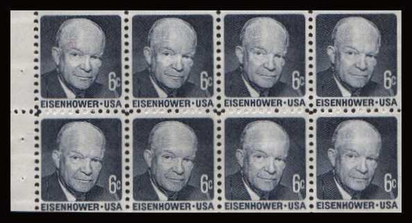 view larger image for  : SG Number 1383a / Scott Number 1393a (1970) - Eisenhower <br/>Booklet pane of 8