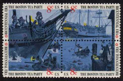 view larger image for  : SG Number 1504b / Scott Number 1483a (1973) - Boston Tea Party <br/> Block of 4
