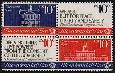 view larger image for Commemoratives 1974 - 1976 - Middle Period Commemoratives: SG Number 1544a / Scott Number 10c x4 (1974) - Continental Congress <br/>Block of 4