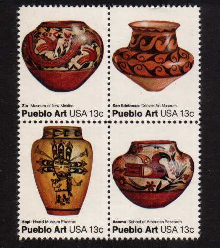 view larger image for Commemoratives 1977 - 1980 - Middle Period Commemoratives: SG Number 1685a / Scott Number 13c x4 (1977) - Pueblo Art <br/> Block of 4