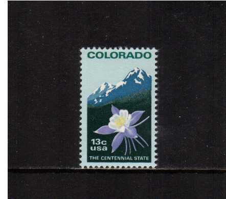 view larger image for Commemoratives 1977 - 1980 - Middle Period Commemoratives: SG Number 1687b / Scott Number 13c (1977) - Colorado Statehood <br/><br/>Comb Perforation  11.2
