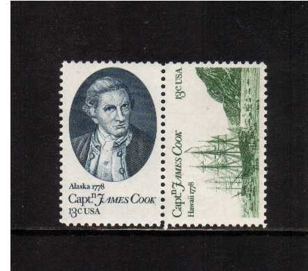 view larger image for Commemoratives 1977 - 1980 - Middle Period Commemoratives: SG Number 1710a / Scott Number 13c x2 (1978) - Captain Cook<br/>Se-tenant pair
