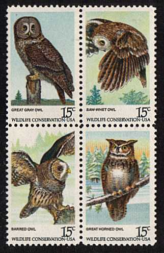 view larger image for  : SG Number 1734a / Scott Number 1763a (1978) - Wildlife - Owls <br/>Block of 4