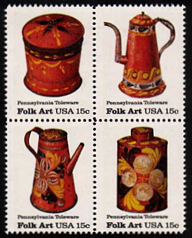 view larger image for  : SG Number 1753a / Scott Number 1778a (1979) - Folk Art - Pennsylvania Toleware