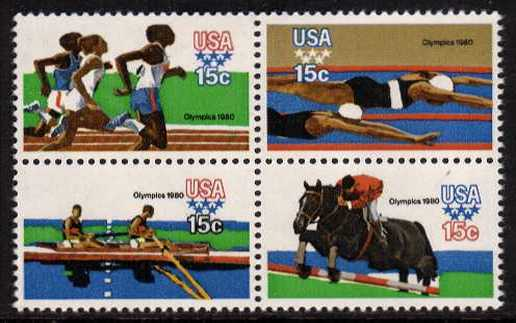 view larger image for  : SG Number 1768a / Scott Number 1794a (1979) - Summer Olympics <br/> Block of 4