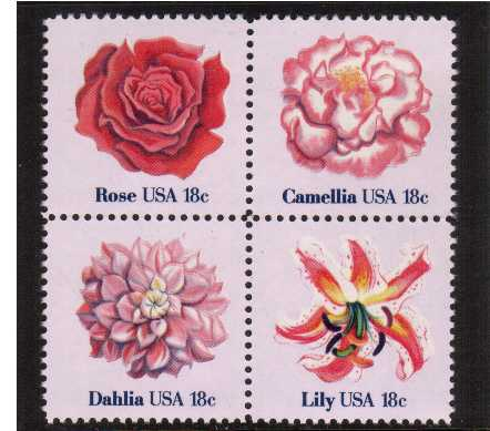 view larger image for Commemoratives 1981 - 1982 - Middle Period Commemoratives: SG Number 1849a / Scott Number 18c x4 (1981) - Flowers <br/> Block of 4