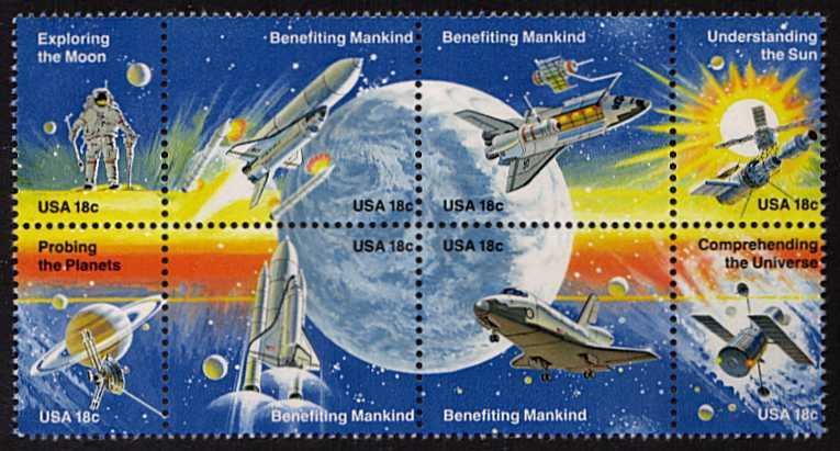 view larger image for Commemoratives 1981 - 1982 - Middle Period Commemoratives: SG Number 1893a / Scott Number 18c x8 (1981) - Space Achievement <br/>