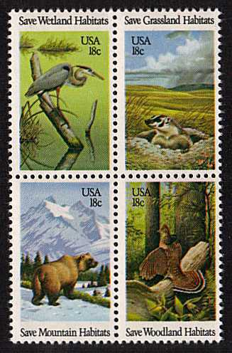 view larger image for Commemoratives 1981 - 1982 - Middle Period Commemoratives: SG Number 1898a / Scott Number 18c x4 (1981) - Wildlife <br/> Block of four