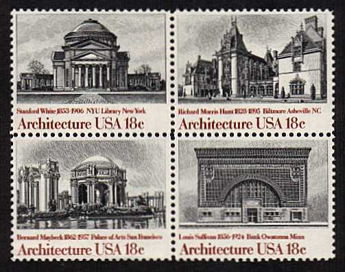 view larger image for Commemoratives 1981 - 1982 - Middle Period Commemoratives: SG Number 1905a / Scott Number 18c x4 (1981) - Architecture <br/> Block of four