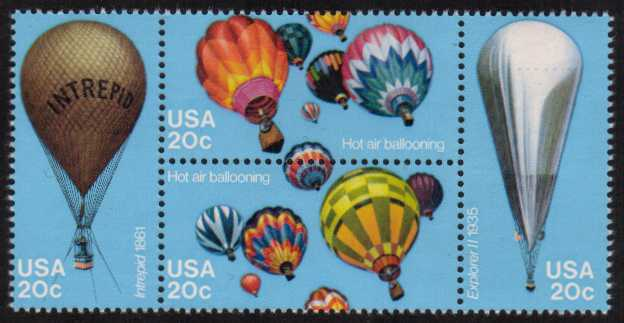 view larger image for Commemoratives 1983 - 1987 - Middle Period Commemoratives: SG Number 2020a / Scott Number 20c x4 (1983) - Ballooning <br/> Block of four