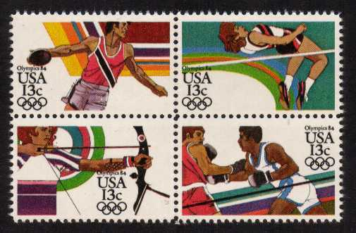 view larger image for Commemoratives 1983 - 1987 - Middle Period Commemoratives: SG Number 2043a / Scott Number 13c x4 (1983) - Summer Olympics <br/> Block of 4