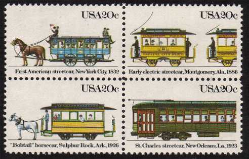 view larger image for Commemoratives 1983 - 1987 - Middle Period Commemoratives: SG Number 2055a / Scott Number 20c x4 (1983) - Streetcars <br/> Block of 4