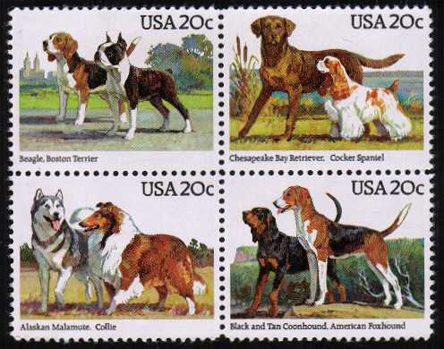 view larger image for  : SG Number 2098a / Scott Number 2101a (1984) - Dogs <br/> Block of 4