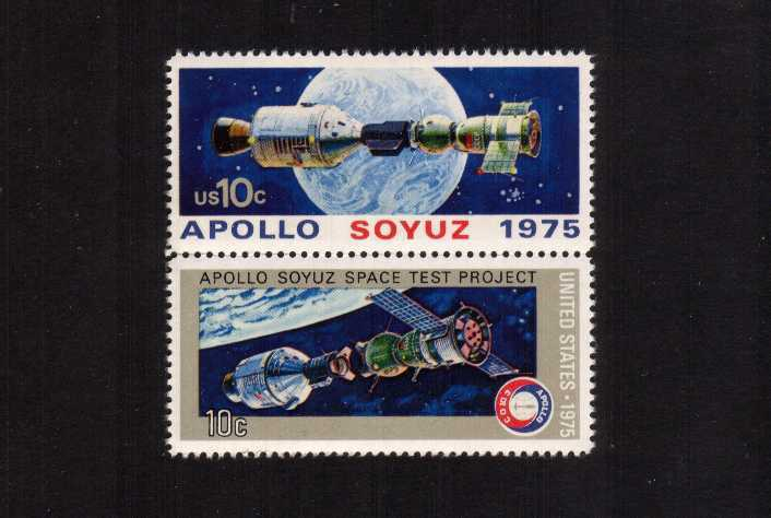 view larger image for  : SG Number SG 1568av / Scott Number 1569av (1975) - Apollo-Soyuz Space Issue<br/> VERTICAL - Se-tenant pair