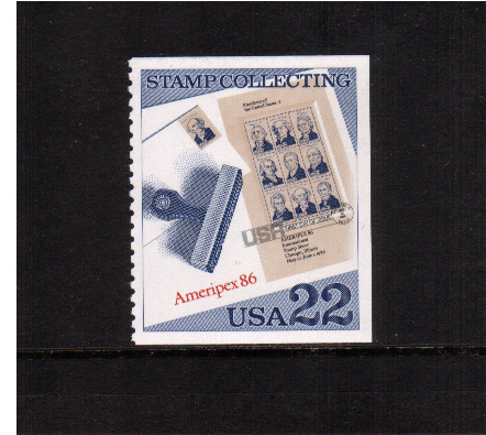 view larger image for  : SG Number 2212 / Scott Number 2201 (1986) - Stamp Collecting - AMERIPEX minisheet postmarked