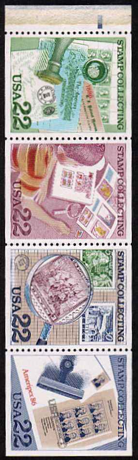 view larger image for  : SG Number 2212a / Scott Number 2201a (1986) - Stamp Collecting<br/>Booklet pane of 4