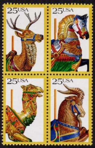 view larger image for  : SG Number 2377a / Scott Number 2393a (1988) - Carousel Horses<br/>