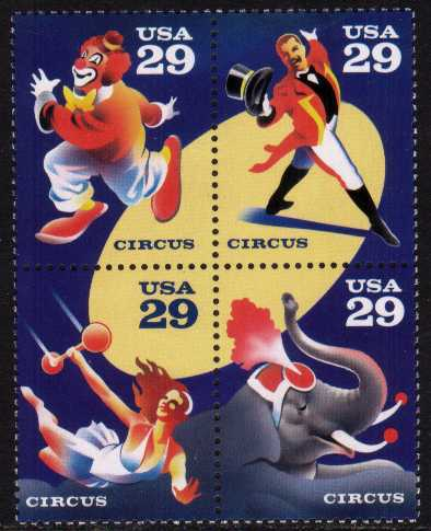 view larger image for  : SG Number 2787a / Scott Number 2753a (1993) - Circus <br/>Block of 4
