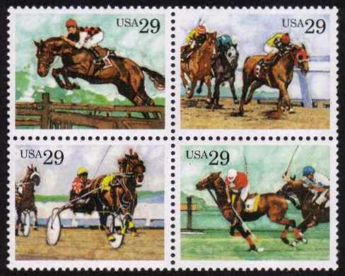 view larger image for  : SG Number 2794a / Scott Number 2759a (1993) - Sporting Horses <br/>Block of four