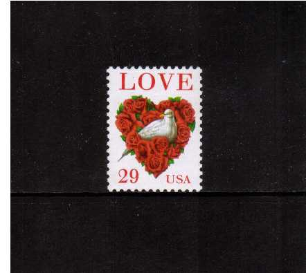 view larger image for  : SG Number 2883 / Scott Number 2814C (1994) - LOVE - 'Dove in heart of Roses' <br/>Sheet stamp - Perforation 11.1