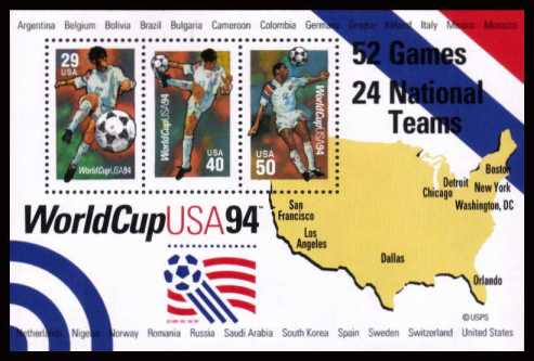 view larger image for  : SG Number MS2905 / Scott Number 2837 (1994) - World Cup Miniature Sheet