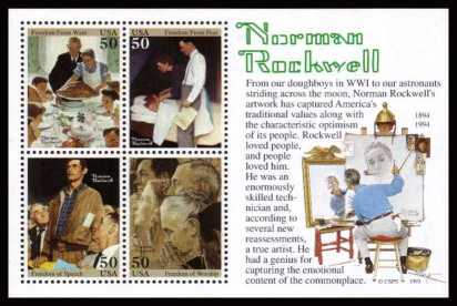 view larger image for  : SG Number MS2920 / Scott Number 2840 (1994) - Norman Rockwell Miniature Sheet