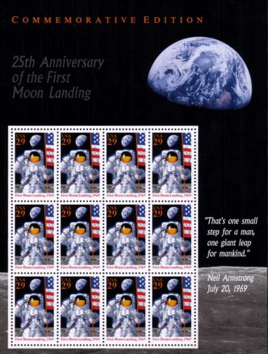 view larger image for  : SG Number MS2922 / Scott Number 2841 (1994) - 25th Anniversary of Moon Landing<br/>