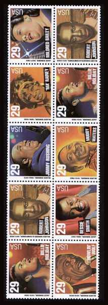 view larger image for  : SG Number 2943a / Scott Number 2861a (1994) - Jazz Singers - Blues Singers<br/> 