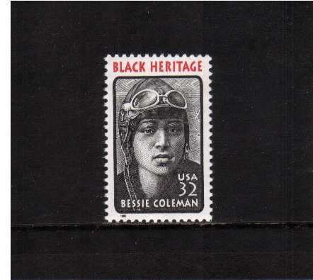 view larger image for  : SG Number 3022 / Scott Number 2956 (1995) - Black Heritage Series - Bessie Coleman