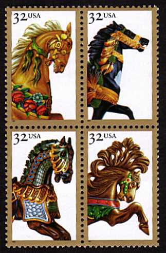 view larger image for  : SG Number 3088a / Scott Number 2979a (1995) - Carousel Horses<br/>