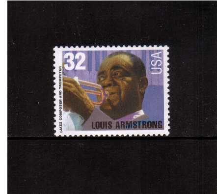 view larger image for  : SG Number 3091 / Scott Number 2982 (1995) - Jazz Musicians - Louis Armstrong <br/>(White value)