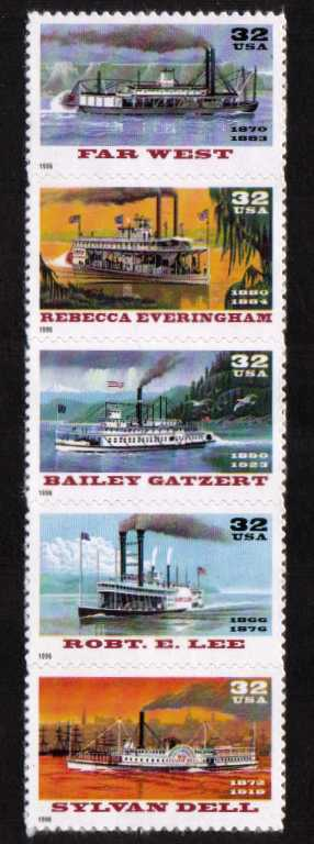 view larger image for  : SG Number 3230a / Scott Number 3095a (1996) - Riverboats<br/>