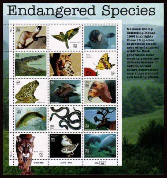 view larger image for  : SG Number 3240a / Scott Number 3105 (1996) - Endangered Species <br/>special sheet of 15 different designs