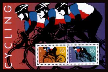 view larger image for  : SG Number MS3270 / Scott Number 3119 (1996) - Cycling Miniature Sheet