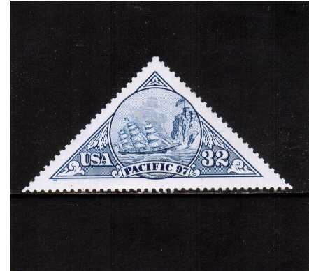 view larger image for  : SG Number 3282 / Scott Number 3130 (1997) - Pacific 97 - Triangular stamp - Sailing ship in Blue