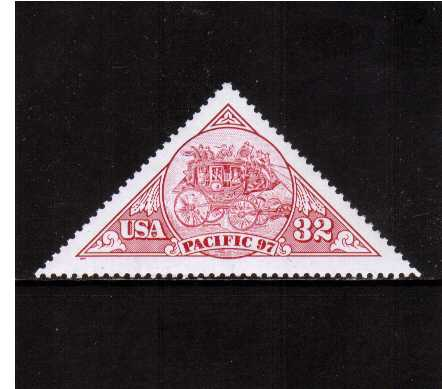 view larger image for  : SG Number 3281 / Scott Number 3131 (1997) - Pacific 97 - Triangular stamp - Stagecoach in Red