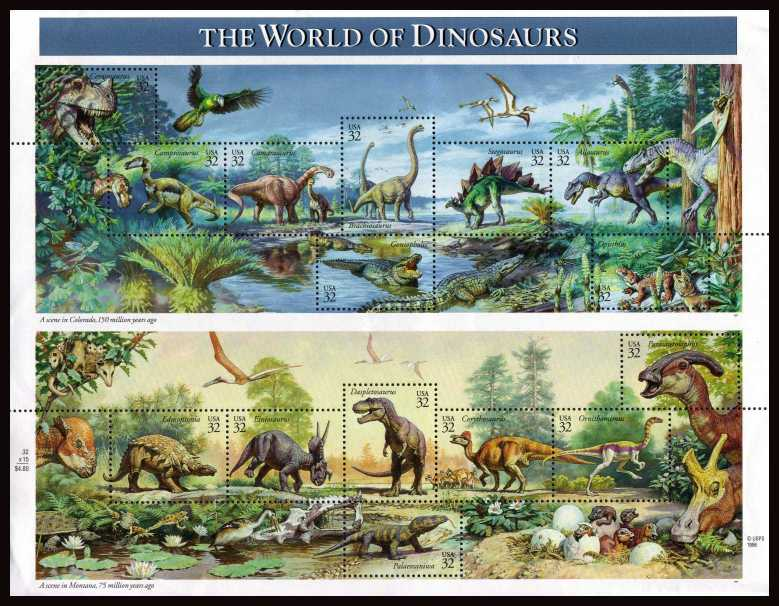 view larger image for  : SG Number 3285a / Scott Number 3136 (1997) - Dinosaurs <br/>special sheetlet of 15 designs