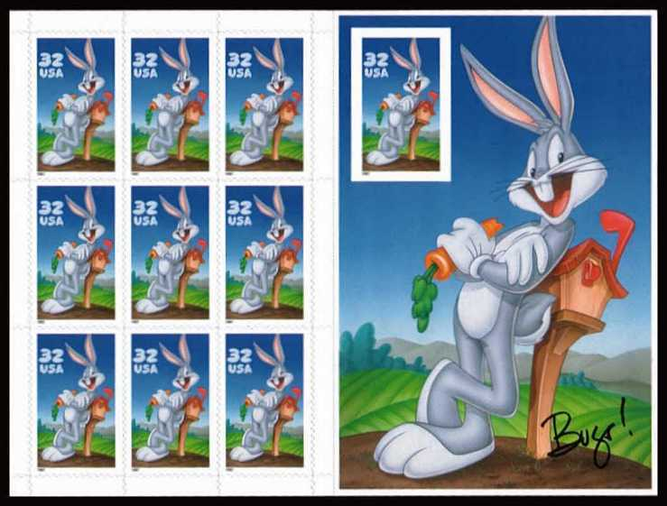 view larger image for  : SG Number 3300+MS3301a / Scott Number 3138 (1997) - 'Looney Tunes' - Bugs Bunny<br/>