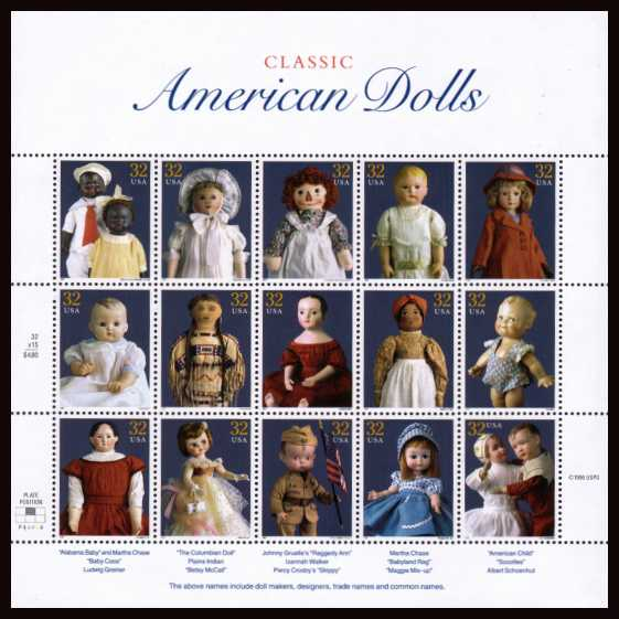 view larger image for  : SG Number 3332a / Scott Number 3151 (1997) - Classic American Dolls<br/> Special sheet of 15