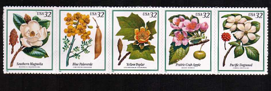 view larger image for  : SG Number 3412a / Scott Number 3197a (1998) - Flowering Trees <br/>Horizontal strip of 5<br/><br/>Self  adhesive