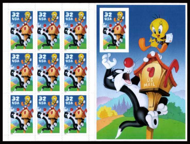 view larger image for  : SG Number 3419+MS3420a / Scott Number 3205 (1998) - 'Looney Tunes' - Tweety and Sylvester<br/>