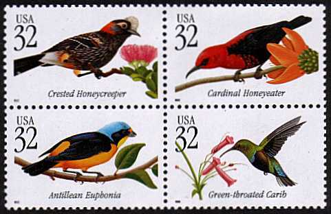 view larger image for  : SG Number 3458a / Scott Number 3225a (1998) - Tropical Birds Block of four