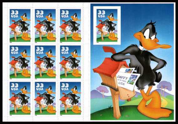 view larger image for  : SG Number 3591+MS3592a / Scott Number 3307 (1999) - 'Looney Tunes' - Daffy Duck <br/> Booklet pane of 10 -  IMPERFORATE