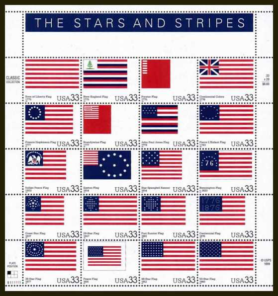 view larger image for  : SG Number 3788a / Scott Number 3403 (2000) - The Stars & Stripes <br/>
