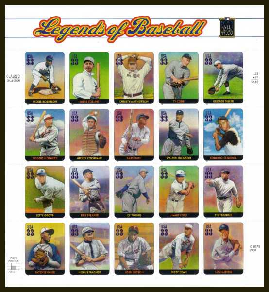 view larger image for  : SG Number 3812a / Scott Number 3408 (2000) - Legends of Baseball<br/>