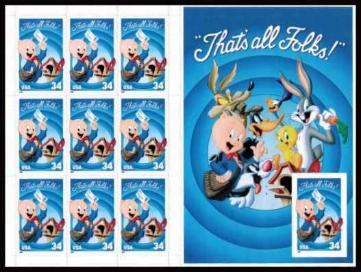 view larger image for  : SG Number MS4004a / Scott Number 3535 (2001) - 'Looney Tunes' - Porky Pig <br/> IMPERFORATE Booklet pane of 10<br/>