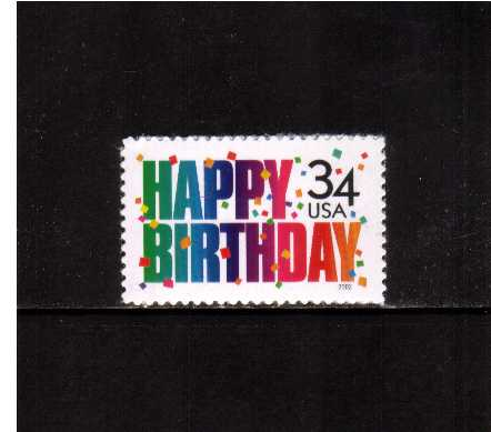 view larger image for  : SG Number 4036 / Scott Number 3558 (2002) - ' Happy Birthday' 