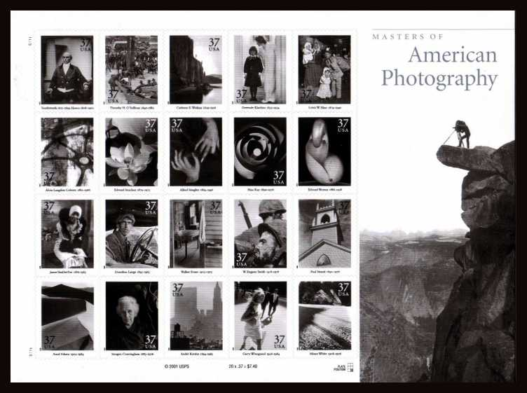 view larger image for  : SG Number 4132a / Scott Number 3649 (2002) - Masters of American Photography sheet of 20<br/>