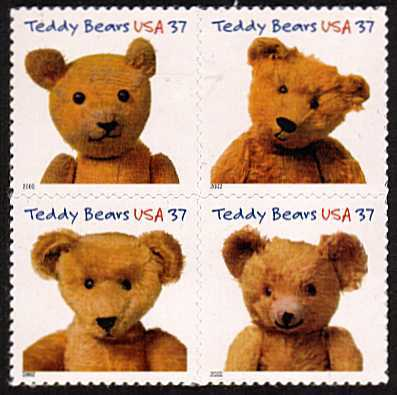 view larger image for  : SG Number 4166a / Scott Number 3656a (2002) - Teddy Bears - block of four